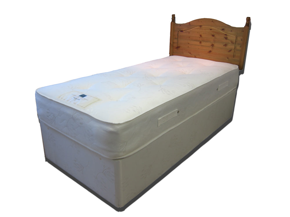 The Thame Ortho Divan bed features: Comfort level - Medium tension; Bonnell spring unit with steel rod-edge; Multi-quilted layers of poly-cotton filling; Woven damask cover; Turnable; Base fabric matches mattress