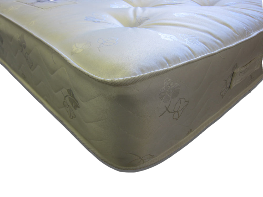 The Thame Ortho mattress features: Medium tension; Bonnell spring unit with steel rod-edge; Multi-quilted layers of poly-cotton filling; Woven damask cover; Turnable.