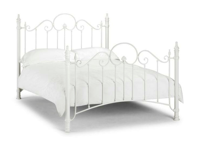 Tuscany Stone White Metal Bed Frame
