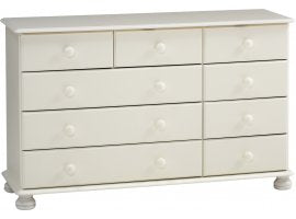 The Arctic 2+3+4 drawer chest has 3 wide and 6 narrow drawers. This solid white MDF flat packed furniture features knob handles and bun feet. Many matching pieces available. DIMENSIONS are Height: 739 mm,  Width: 1207 mm,  Depth: 383 mm