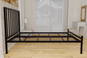 The Pinner Wrought Iron Bed Frame, is pictured here in black with a low foot end style.  It has sleek, straight lines and a very strong steel mesh base backed by a 5 year guarantee