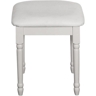 This solid white MDF flat packed padded stool features traditional routing. Many matching pieces available. DIMENSIONS Height: 445 mm,  Width: 390 mm,  Depth: 390 mm