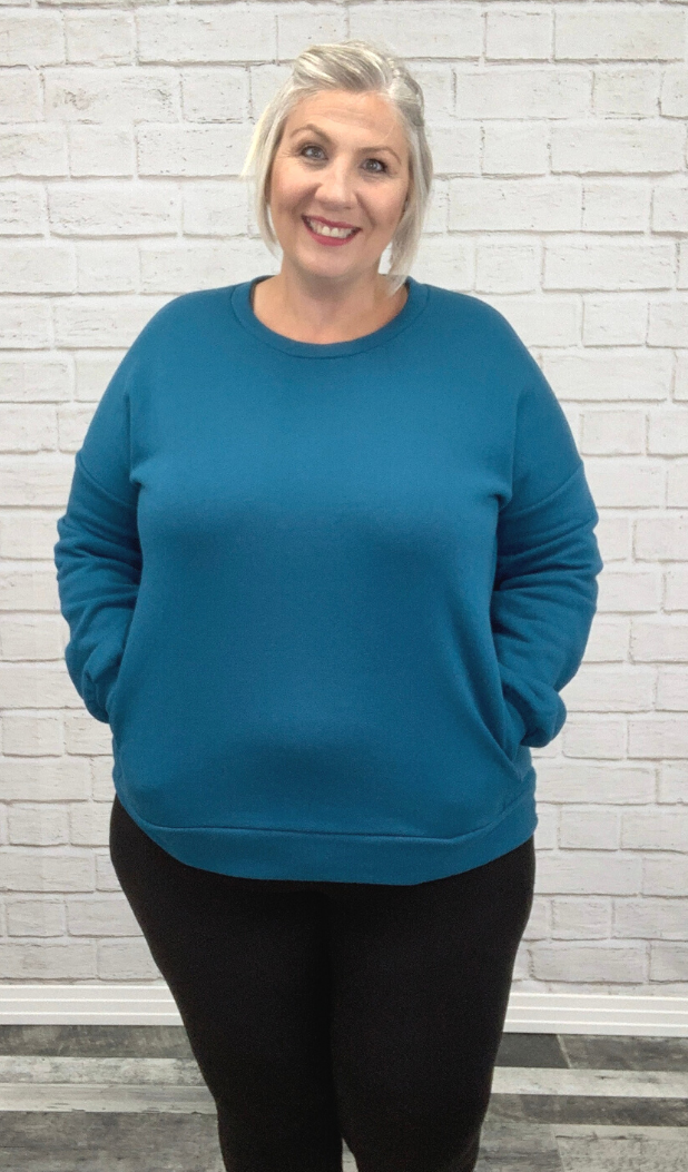Teal Sweater with Pockets