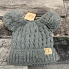 Kids Knit Double Pom - Grey