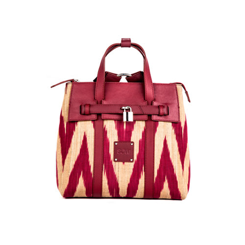 ABBEY IKAT BAG  - BURGUNDY