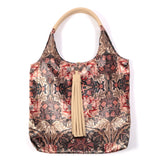 ARTS AND CRAFTS FLORAL PRINT VELVET TOTE WITH BEIGE FAUX LEATHER  HANDLES AND TASSELLED TOP CLOSURE