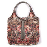 ARTS AND CRAFTS FLORAL PRINT VELVET TOTE WITH GREY FAUX LEATHER  HANDLES AND TASSELLED TOP CLOSURE