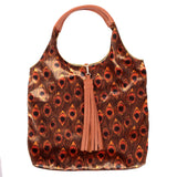 GOLDEN PEACOCK FEATHER PRINT VELVET TOTE BAG WITH COGNAC FAUX LEATHER HANDLES AND TASSELLED TOP CLOSURE