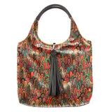 MULTICOLOUR ILLUSTRATED FEATHER PRINT VELVET TOTE WITH BLACK FAUX LEATHER  HANDLES AND TASSELLED TOP CLOSURE