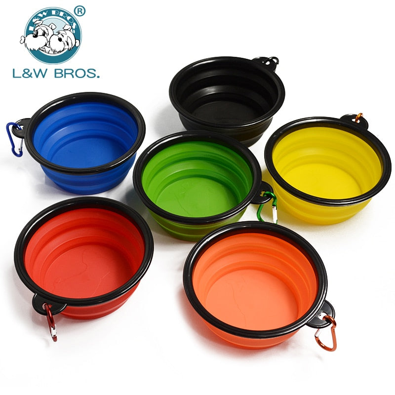 Silicone Dog Bowl With Hang buckle Water Bowl