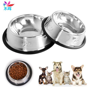 Stainless Steel Travel Feeder Feeding Food Bowl Water Dish