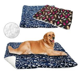 Warm Paw Print Puppy Cat Fleece Beds