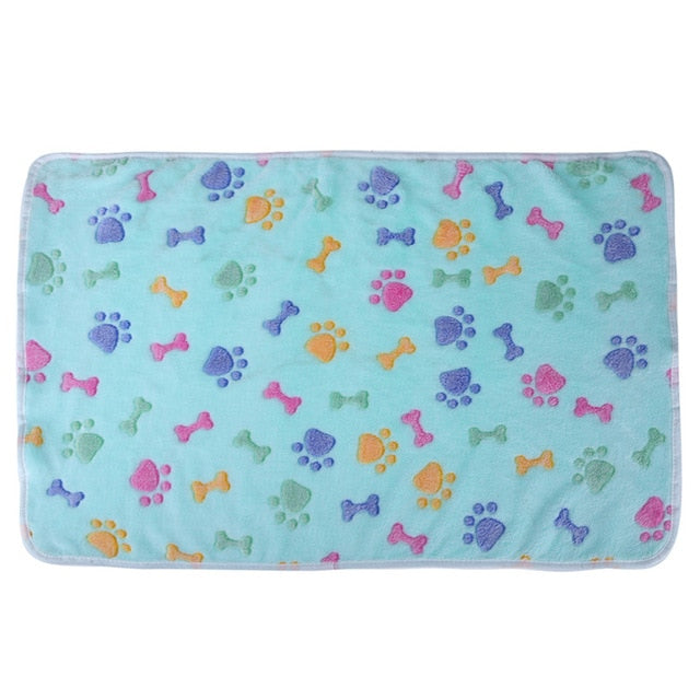 Velvet Dog Bone Paw Print Pet Bed Mats