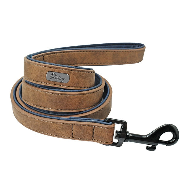 Leather Personalized Pet Dog Tag Collar Leash Lead