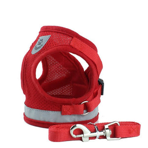 Mesh Reflective Pet Dog Collar Leash Dog Harness