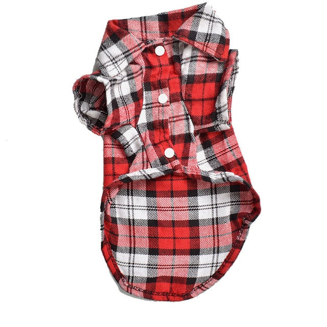 Plaid Cat Clothes Summer Fashion Cat Shirts