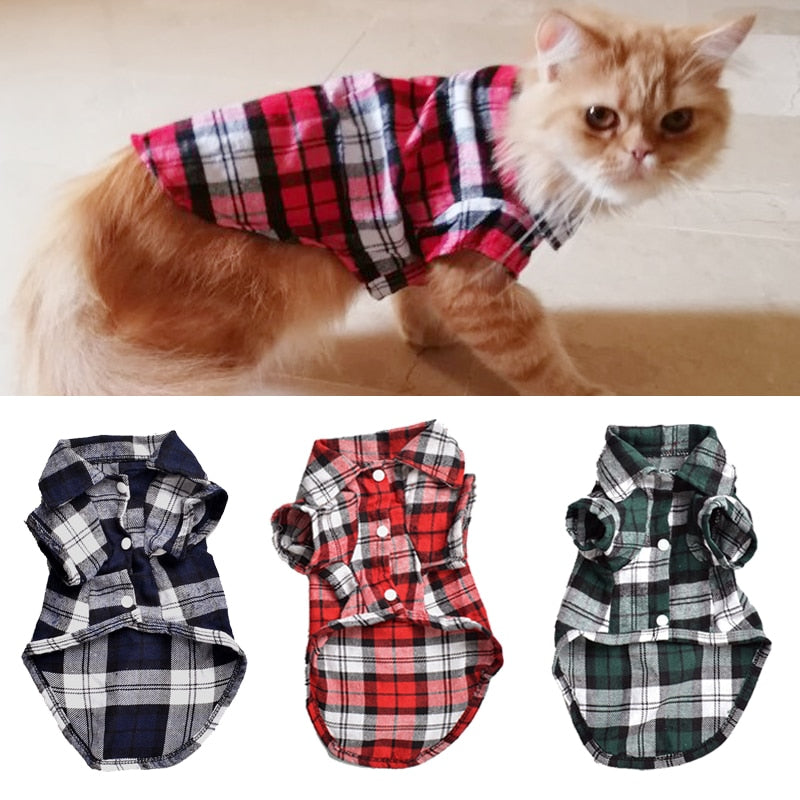 Classic Plaid Pet Cat Clothes for Cats