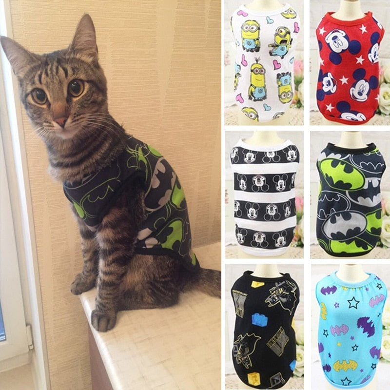 Fashion Summer Cat Costume Clothes Cartoon Cat T-shirt