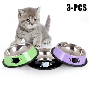 Stainless Steel Anti-Skid Pet Dog Cat Food Water Bowl