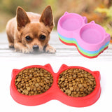 Pet Plastic Cat Facial Shape PET Double Bowl