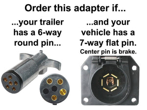 7-Way Flat to 6-Way Round Plastic Trailer Connector Adapter