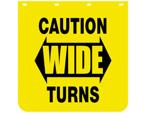 Caution Wide Turns Yellow Polymer Mudflaps 24x30 Inch