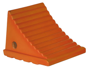 Small Orange Polyurethane Wheel Chock 7.38x8.31x6.25 Inch