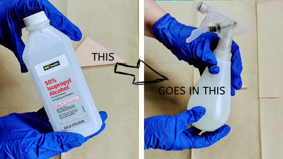 prep using rubbing alcohol in a spray bottle
