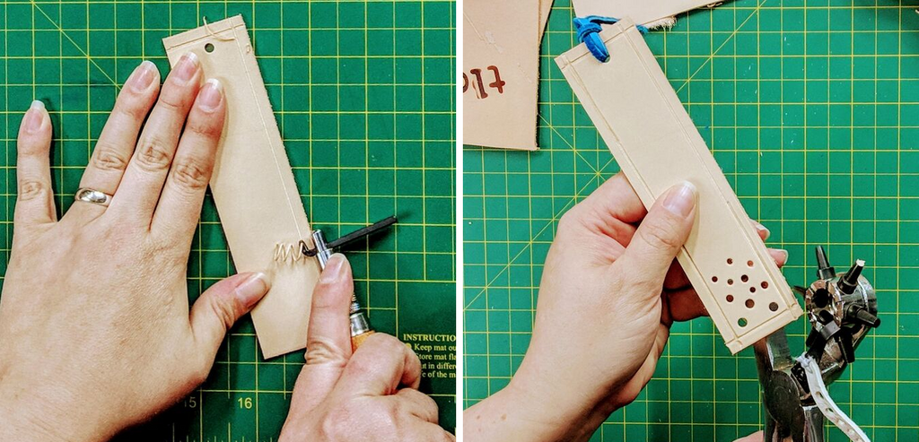 add customization to your DIY leather bookmark