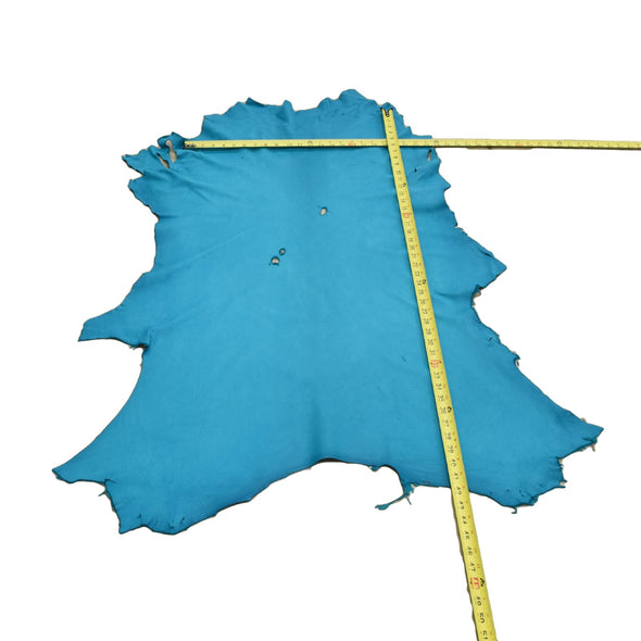 Turquoise Buckskin Deer Hides, 9 Square Foot / Hide 5 / 2-3oz