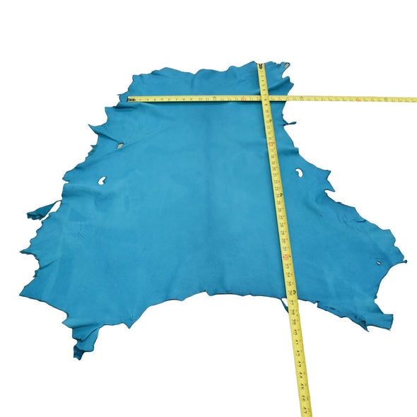 Turquoise Buckskin Deer Hides, 9 Square Foot / Hide 6 / 2-3oz