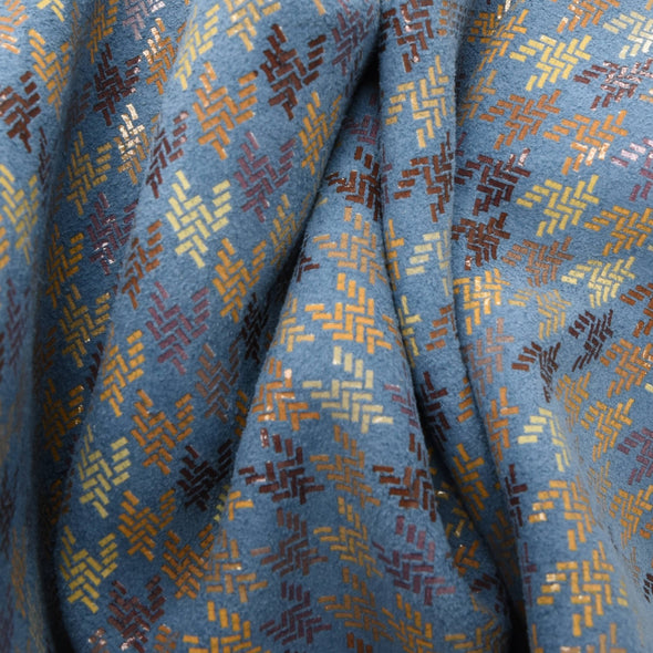 Woven Houndstooth Steel Blue, 3-4 oz Cow Hides, Retro Throwbacks,