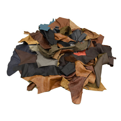 Upholstery Scrap - Pick Size - Cowhide Leather 1 Pound Remnants 3-4 oz Color Mix,