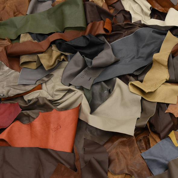 Upholstery Scrap - Pick Size - Cowhide Leather 1 Pound Remnants 3-4 oz Color Mix, Large