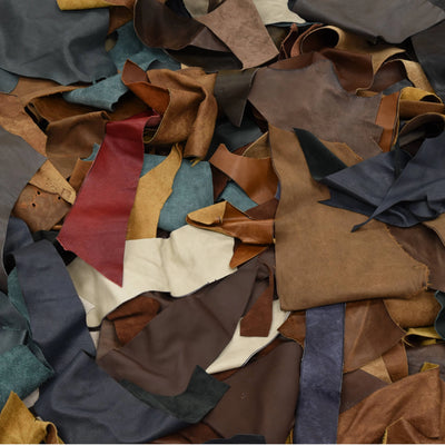 Upholstery Scrap - Pick Size - Cowhide Leather 1 Pound Remnants 3-4 oz Color Mix, Medium
