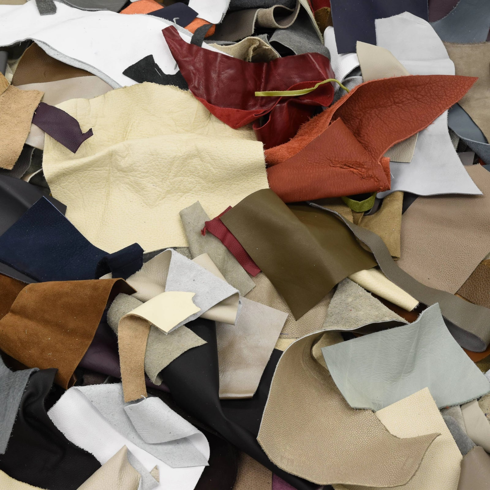 Upholstery Scrap - Pick Size - Cowhide Leather 1 Pound Remnants 3-4 oz Color Mix, Small