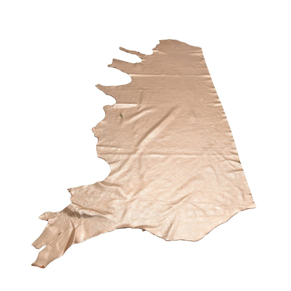 14K Rose Gold Metallic Vegas 2-3 oz Leather Cow Hides, Side / 18-20 Sq Ft