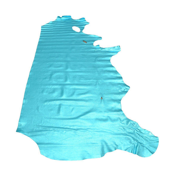 I Do Robin Egg Blue Metallic Vegas 2-3 oz Leather Cow Hides, Side / 18-20 Sq Ft