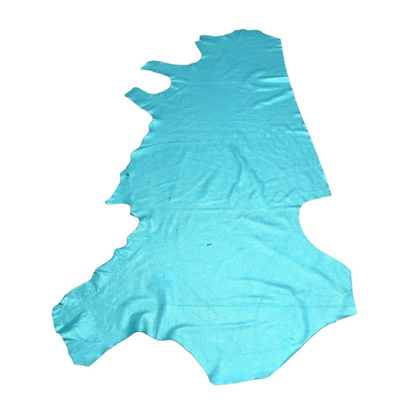 I Do Robin Egg Blue Metallic Vegas 2-3 oz Leather Cow Hides, Side / 27-29 Sq Ft