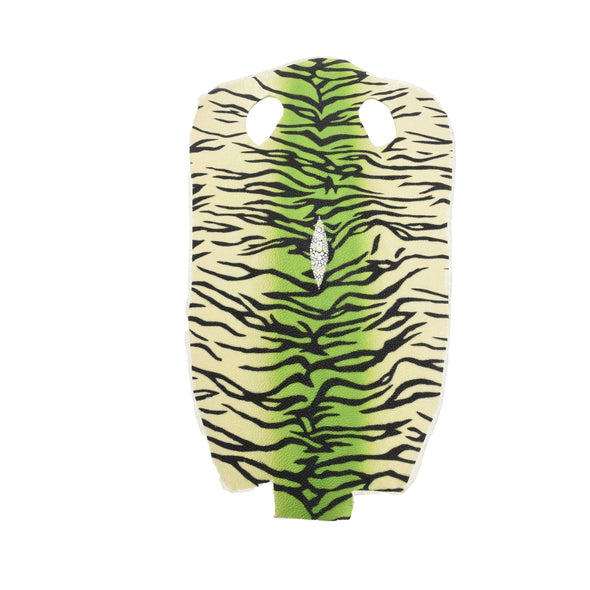 Stingray Skins 100% Polished Exotic Leather hide inlay Tiger Stripes, Tiger Stripe Green