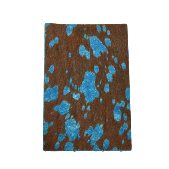 Acid Wash Leather Hair on Cow Hide Pre-cuts, 4 x 6 / Teal