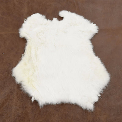 Rabbit Fur Pelt - Choose White or Naturals Singles and Packs - Genuine Soft Leather, White / Off White / 1