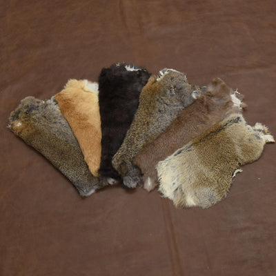 Rabbit Fur Pelt - Choose White or Naturals Singles and Packs - Genuine Soft Leather, Natural Earth Tone / 6