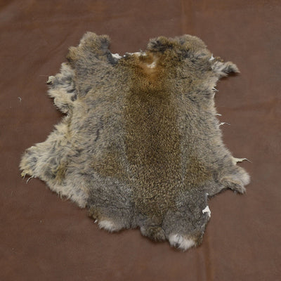 Rabbit Fur Pelt - Choose White or Naturals Singles and Packs - Genuine Soft Leather, Natural Earth Tone / 1