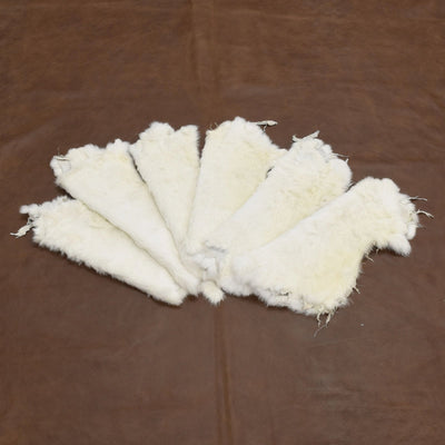 Rabbit Fur Pelt - Choose White or Naturals Singles and Packs - Genuine Soft Leather, White / Off White / 6