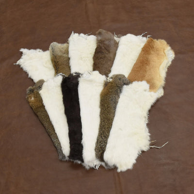 Rabbit Fur Pelt - Choose White or Naturals Singles and Packs - Genuine Soft Leather, Mix / 12