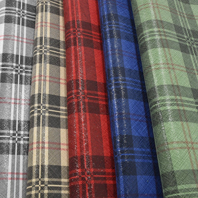 "Preppy Plaid Leather Pre-cut sheets 4""x6"" 8""x10"" 12""x12"" DIY Jewelry For Crafts,"