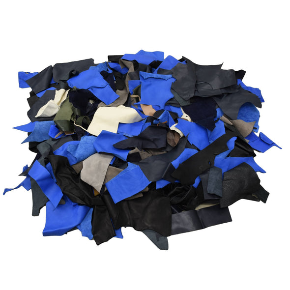 Black/Blues/Grey/Browns, 2-3 oz, 1 pound Cow Hide Remnants,