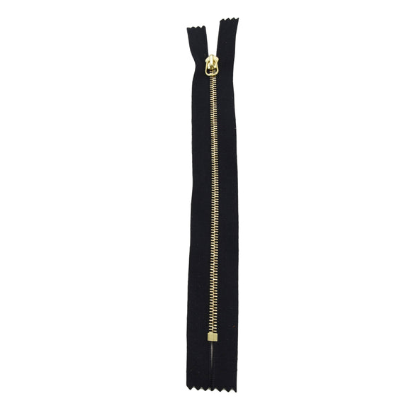 "RIRI Zipper M4 One Way - Brass  6"" or 7"" Closed End w / short tab Various Colors, 7 / Black/Brass"