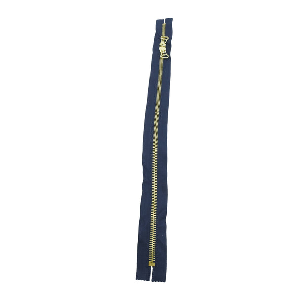 "Ideal Zipper M8 Two Way Double Pull - Brass Teeth 22"", 32"" or 33"" Closed Ends Various Colors, 1 Single / 22 / Navy/Brass"
